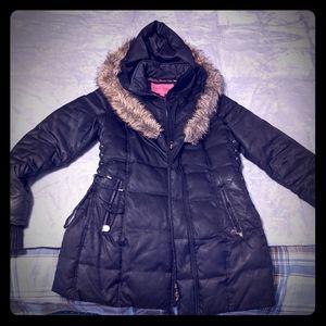 Betsey Johnson Fur-hooded Coat